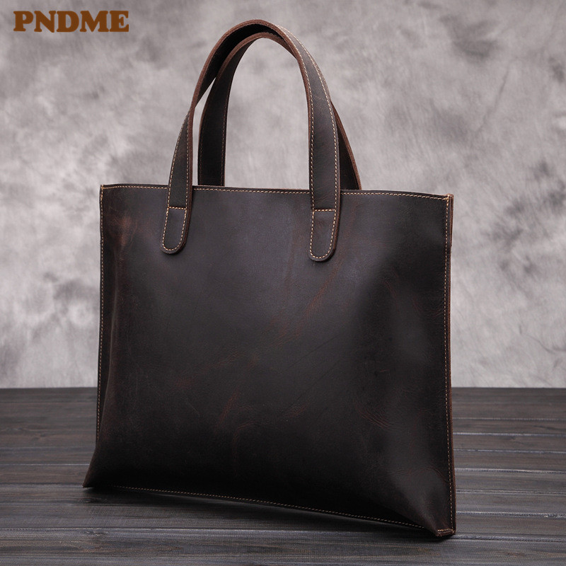 PNDME Retro Business Crazy Horse Cowhide Men's Briefcase Tote Large Capacity High Quality Genuine Leather Laptop Bag Handbag