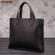 цена на PNDME retro business crazy horse cowhide men's briefcase tote large capacity high quality genuine leather laptop bag handbag