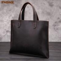 PNDME retro business crazy horse cowhide men's briefcase tote large capacity high quality genuine leather laptop bag handbag