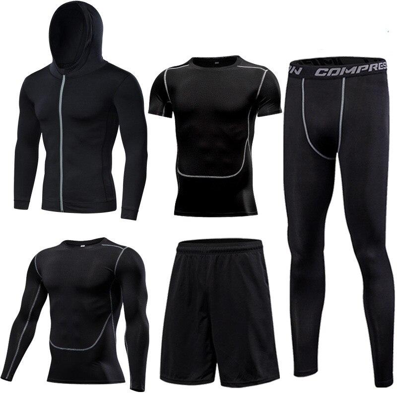 Conjunto de secado rápido para correr, mallas de compresión para baloncesto para hombre, conjuntos deportivos para correr, ropa deportiva para gimnasio, ropa deportiva para correr, Conjunto de jogging - 5