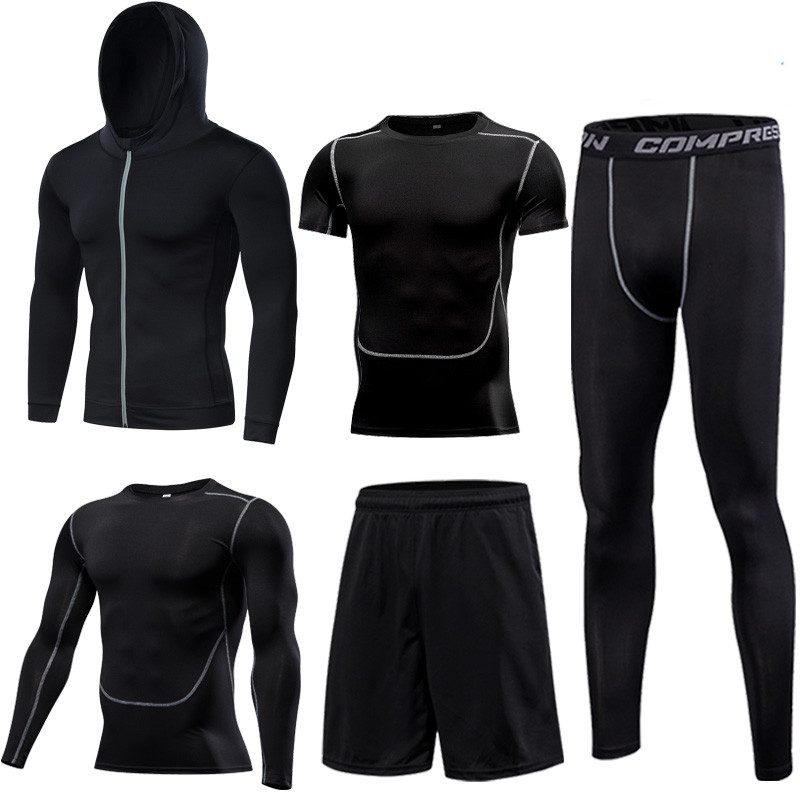 Quick Dry Running Set Men's Compression Basketball Tights Sports Running Sets Gym Fitness Sportswear Running Jogging Set Clothes - 5