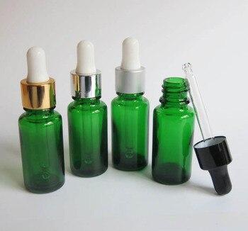 Wholesale 100 Pcs 15ml Green Glass Jars , 15ml empty glass Dropper Aromatherapy Liquid Pipette Bottles