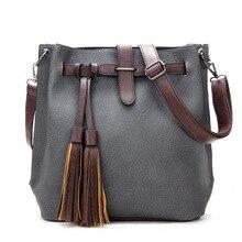 2017 Autumn Winter Woman Bags Vintage Handbag Brand Tassel Bag Leather Shoulder Bucket Bag Crossbody Girl Messenger Bolas