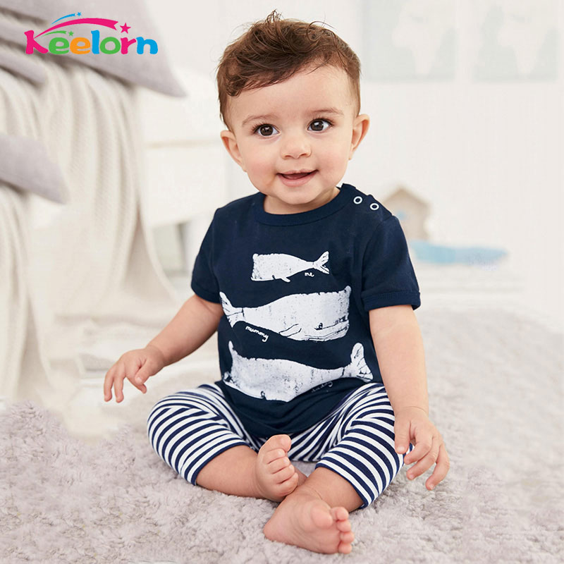 Keelorn 2017 Summer Style Infant Clothes Baby Clothing Sets Three Small Fish Model Cotton Short