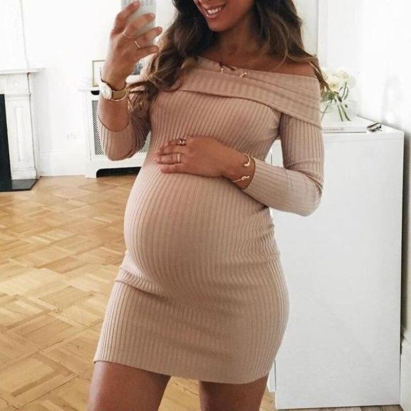 Knitted Maternity Dresses For Pregnant Women Clothes Shoulderless Pregnancy Dresses Gravidas Vestidos Spring Autumn Clothing