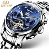 KINYUED Luxury Brand Mens Watches Tourbillon Automatic Mechanical Wristwatch Date Stainless Steel Watch Relojes Hombre Genuine