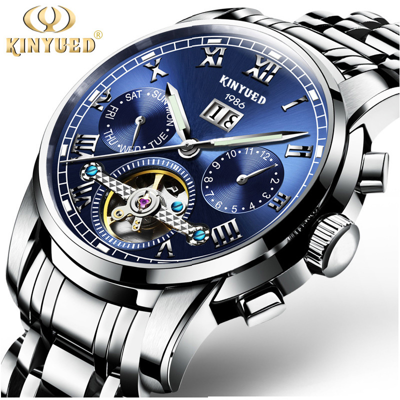 KINYUED Luxury Brand Mens Watches Tourbillon Automatic Mechanical Wristwatch Date Stainless Steel Watch Relojes Hombre Genuine kinyued luxury mens watch mechanical automatic tourbillon skeleton men watches gold stainless steel band auto date wristwatch