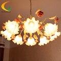 Villa sala de estar iluminação lustre de estilo Europeu jardim lâmpada de ferro forjado flores sombra de vidro lustre de teto