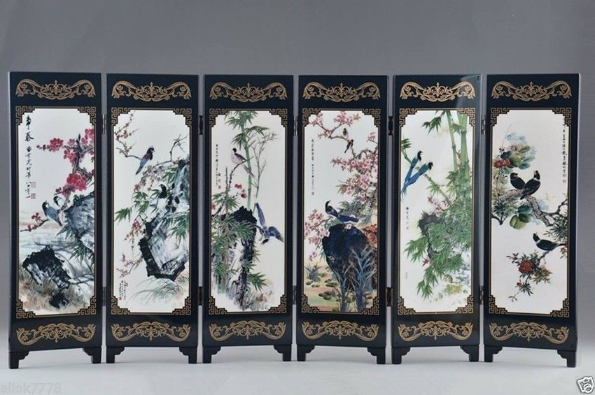 Chinese Lacquer Handwork Painting Auspicious folding Screen Decor gift
