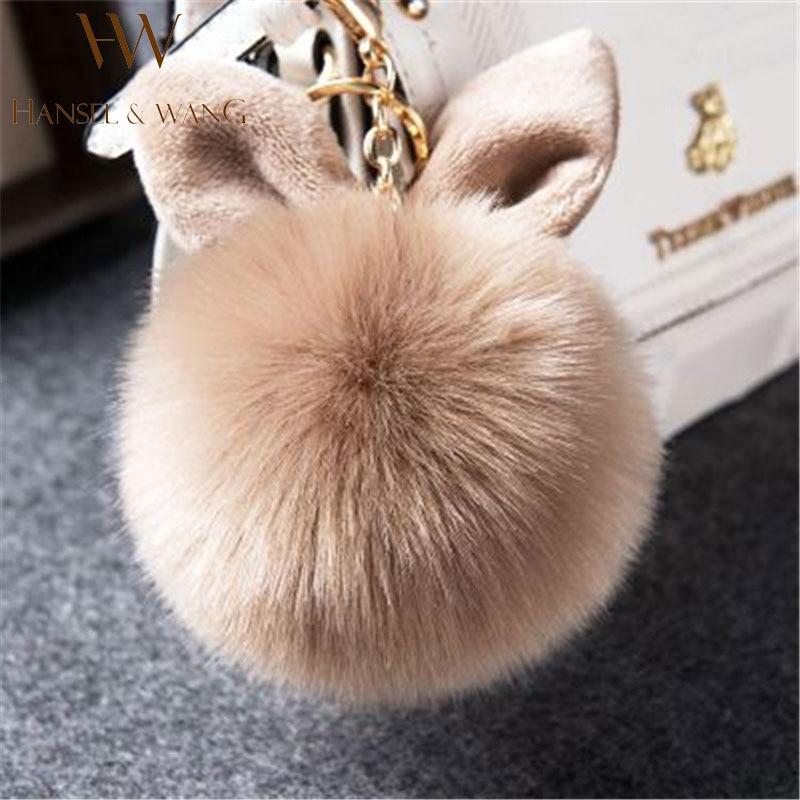 Fake Fur Pom Pom Keychain Fluffy Bunny Rabbit Fur Keychain for Women Bag Charm Rabbit Ears Key Chain Car Key Ring Keychains QC06