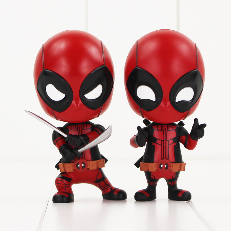 10cm Deadpool Figure Toys Sword Fighting Version Gesturing Ver Bobble head Model Dolls for Children