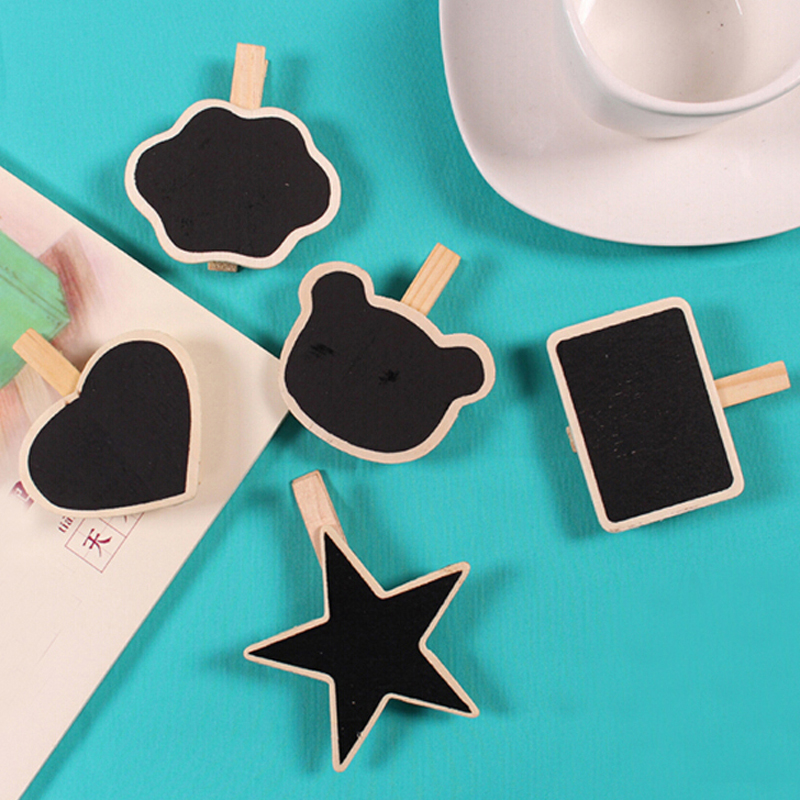 20pcs/lot Wholesale Cute Shape Wooden Mini Chalkboard Small Wood Clip Blackboard Portable School Office Home Message Board