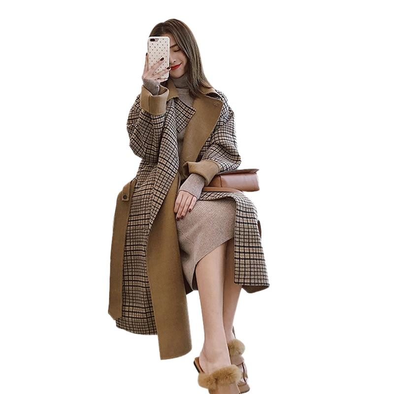 Revers Femmes Boutonnage Lâche Coréenne Manteau Long Mode Épais Automne Hiver Double De Chaud 2018 Brown Mélanges Laine Treillis À 6qEZg