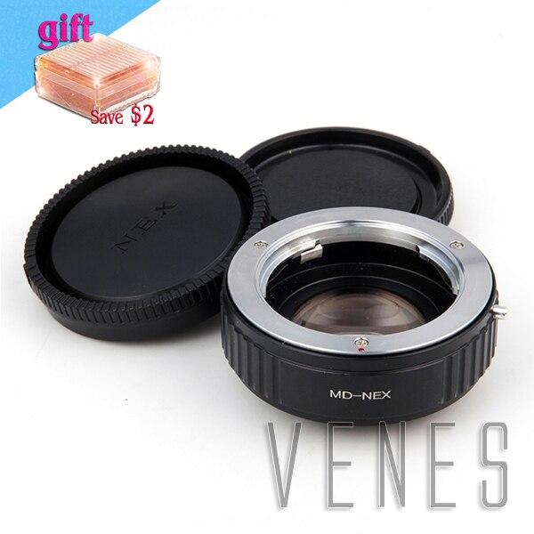 VENES MD lens to NEX Focal Reducer Speed Booster, Adapter ring For Sony NEX E Mount Camera A6500 A5100 A6000 A5000 A3000 NEX focal reducer speed booster lens adapter suit for minolta md nex to sony e mount nex for c3 nex 3 a5000 a3000 nex vg10 nex vg20
