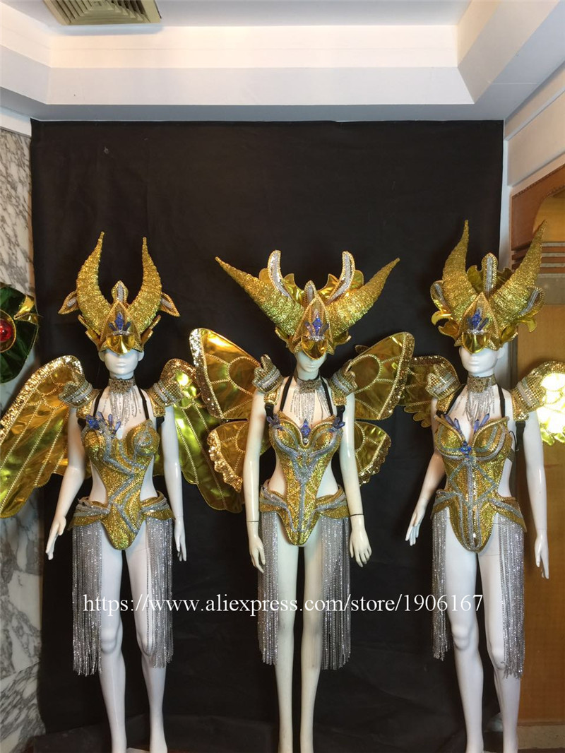 Bar ballroom dance led costumes dress bellydance butterfiy wings colorful led wear clothes stage dj sexy led bra 8