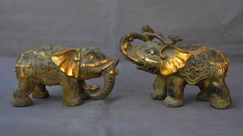 wedding decoration Chinese Feng Shui bronze auspicious wealth ruyi yuanbao bat Elephant statue pairwedding decoration Chinese Feng Shui bronze auspicious wealth ruyi yuanbao bat Elephant statue pair