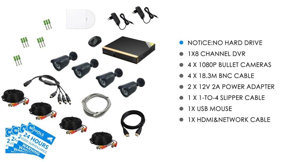 Movols 8ch cctv sistema de câmera 4