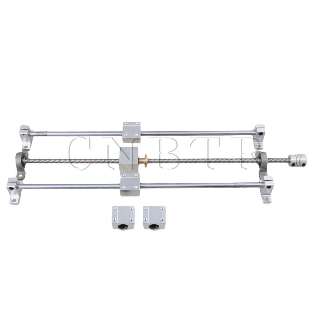 CNBTR T8 Horizontal Dual Rails 400mm Optical Axis & 450mm 8mm Lead Screw Set