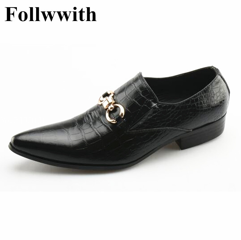 2018 New Arrival Black Alligator Leather Metal Buckle Pointed Toe Men Casual Shoes Follwwith Brand Flats Slip On Men Shoes branded men s penny loafes casual men s full grain leather emboss crocodile boat shoes slip on breathable moccasin driving shoes