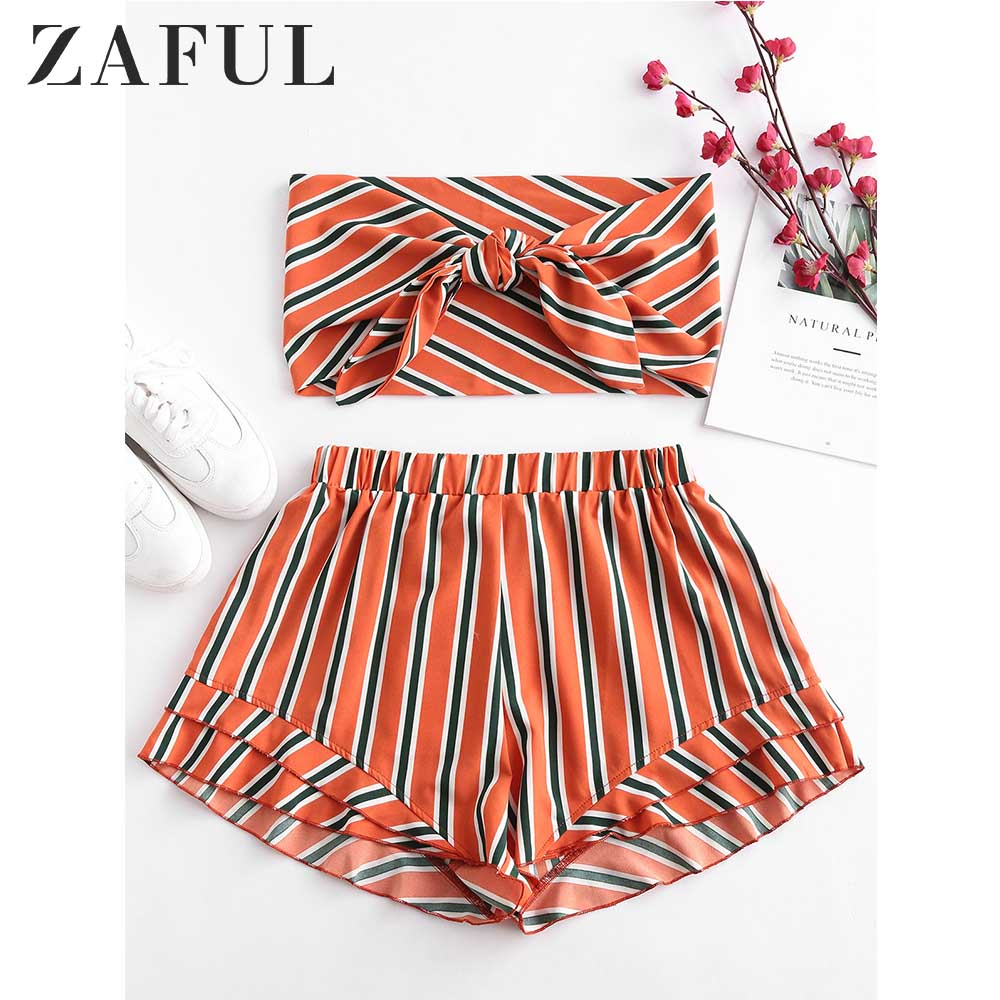 ZAFUL Stripes Tie Front Bandeau Top Set Summer Casual Strapless Sleeveless Crop Top High Waist Shorts Women Set Beach Suits