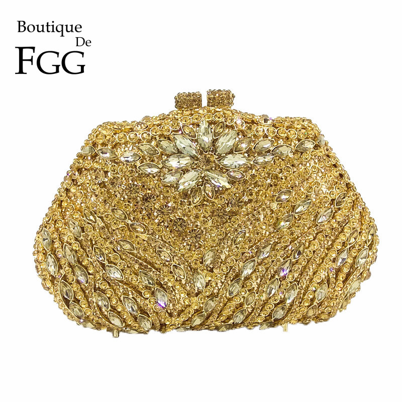 Boutique De FGG Crystal Flower Women Gold Evening Minaudiere Clutch Bag Bridal Diamond Handbag Wedding Party Cocktail Purse