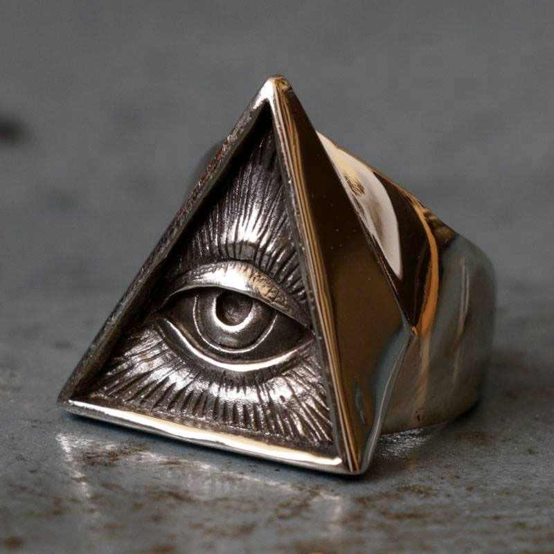 Mens แหวนสแตนเลส Biker Skull Silver สี Freemason Illuminati Triangle Masonic แหวน Punk Masonic Jewelry