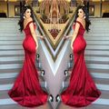 2016 Satin Backless Stunning Prom Dress Long Formal Gowns Red Mermaid Off Shoulder Evening Dresses 1279