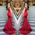 2016 Cetim Backless Impressionante Prom Vestido Longo Formal Vestidos Red Mermaid Off Ombro Vestidos de Noite 1279