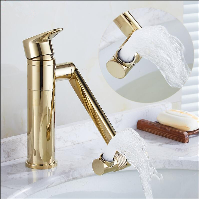 Hot & Cold Brass single lever Crane Gold/Chrome 360 degree Sink Faucet Bathroom Basin Faucet basin mixer tap 2016 hot sale chrome finishing 360 degree rotate brass single lever water tap bathroom sink mixer basin faucet