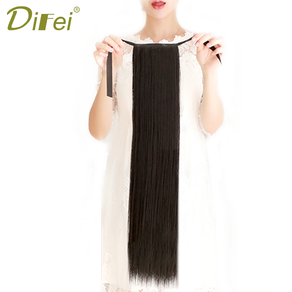 DIFEI 3Colors Long Straight Synthetic Ponytail High Temperature Fiber Clip in Drawstring Ponytail Hairpieces for Women ...
