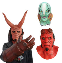 Cosplay Hellboy Latex Mask Hand of hell Gloves Hellboy: Rise the Blood Queen Props Halloween Horror Headgear Costumes