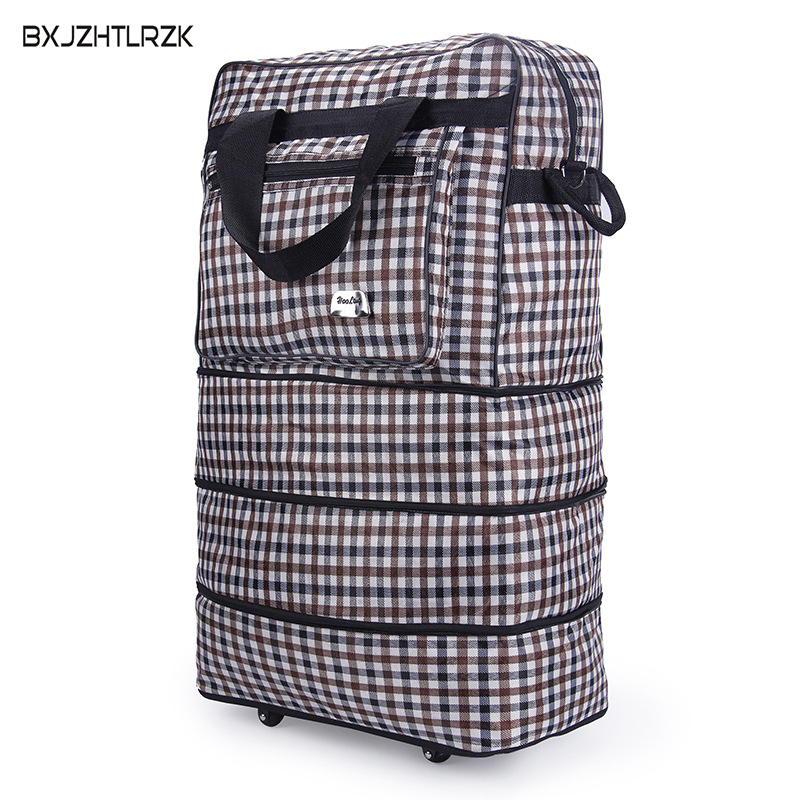 BXJZHTLRZK Scotland Travel Bags Universal Wheels Aircraft Check Bags Large Capacity Luggage Folding Mobile Bags Carrying