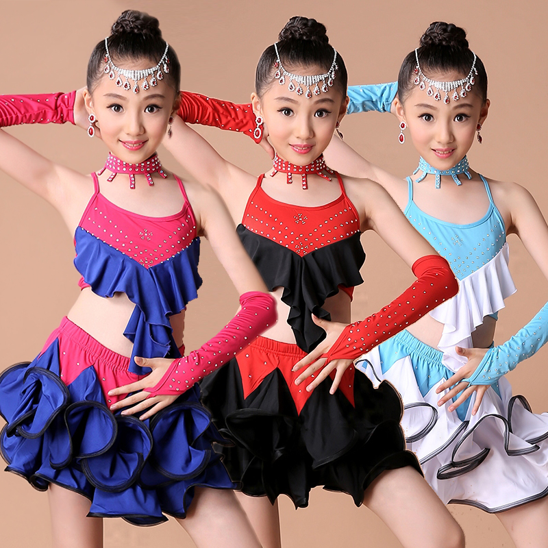 Stage Girl Kid Latin Dancewear Competition Dancing Clothing Performance  Dance Costume Child Latin Ballet Dance Dress For Girls 76adae5b8208