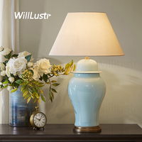 Colorful Glazed Ceramic Table Lamp Ice Cracked Porcelain Jar Copper Base Fabric Shade Table Light Study