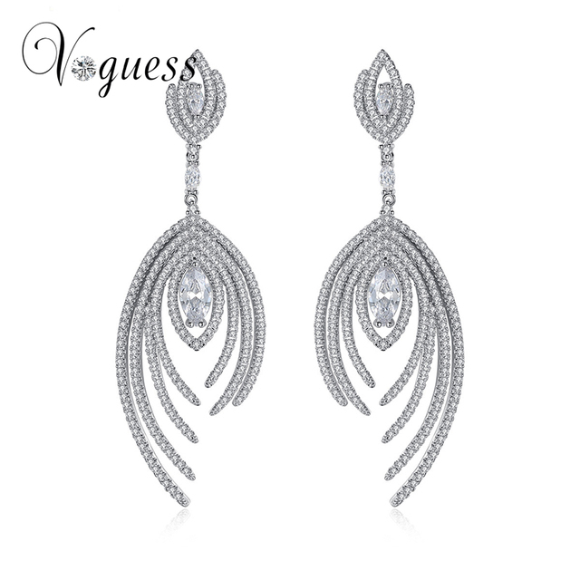 VOGUESS Silver/Gold Colors Crystal Leaf Long Drop Earrings Luxury Bridal Wedding Jewelry for Women Free Shipping