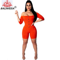 BALIWEISA Sexy Off Shoulder Package Hip Jumpsuits Women Slash Neck Orange Bodycon Rompers New Casual Club Playsuits Sportswear