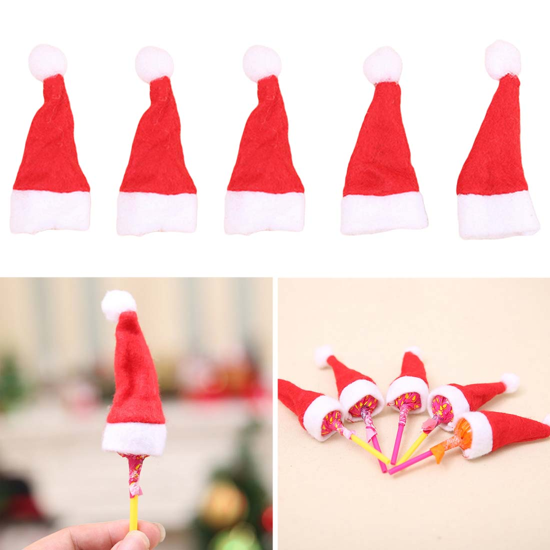 Christmas Home & Garden Temperate 10pcs/lot Mini Santa Claus Hat Christmas Xmas Party Holiday Lollipop Top Decorative Creative Knife Fork Bag Christmas Gift New Varieties Are Introduced One After Another