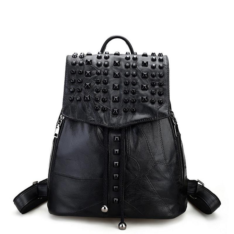 Famous Brand 100 Genuine Leather Women Backpacks Sheepskin Daily Backpack Girl School Bag Rivet Travel Bag