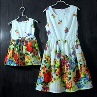 European and American style cotton soft floral Sleeveless holiday Birthday dress skirts princess girls mother and daughter dress