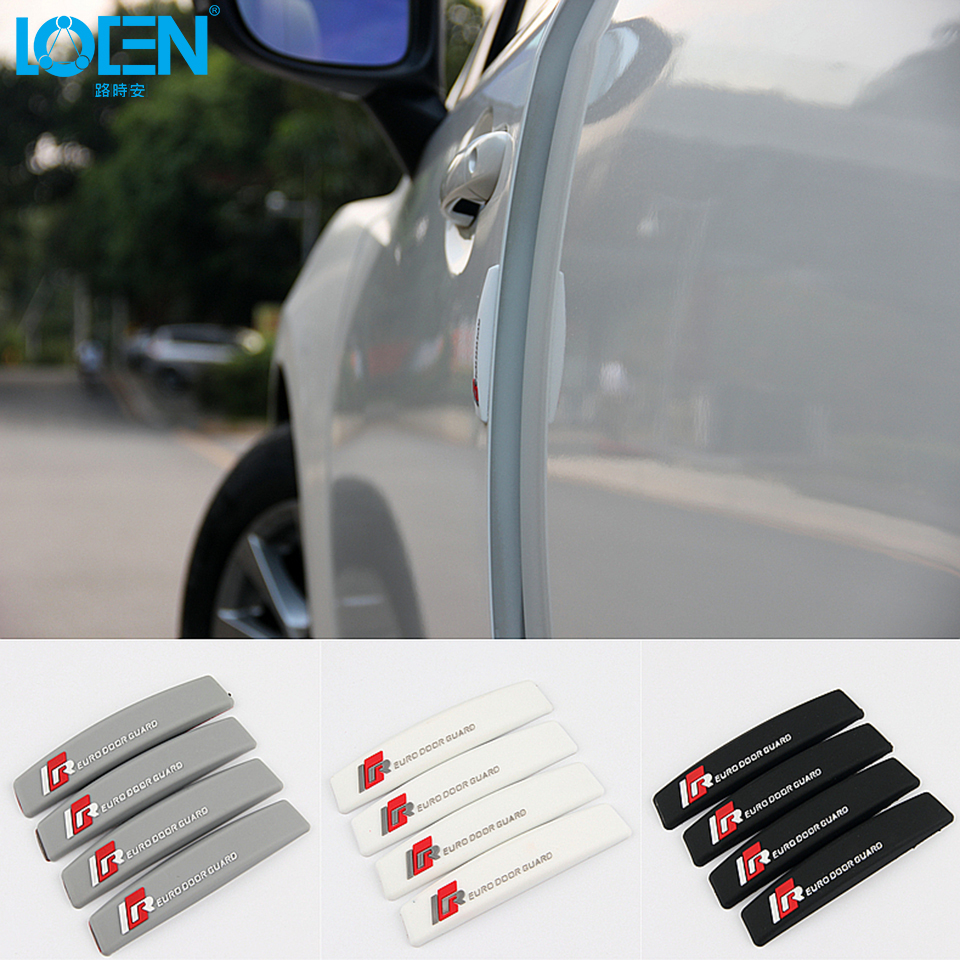 LOEN 4PC/lot Anti-collision Car Stickers For Toyota Honda Hyundai Cruze vw for Audi Buick BMW Dodge Kia Car Styling Glue Strips