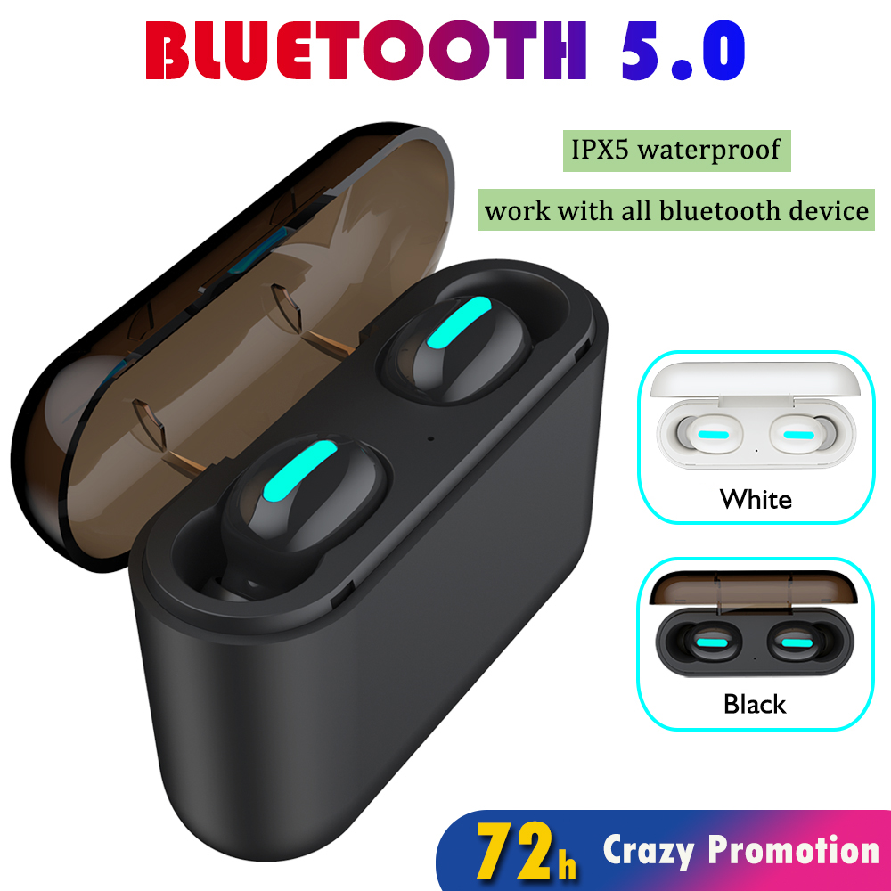 Flurries TWS Bluetooth 5.0 Sports Wireless Waterproof Headphones Wireless Bluetooth 5.0 Sports Headset Waterproof and Long-Lasting Bass Headset
