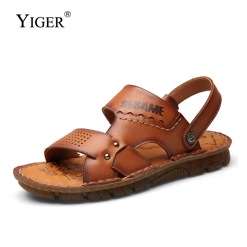 YIGER Men Sandals Male Beach Slippers New Summer Casual Slides Genuine Leather Outdoor Non-slip Leisure Man Sandals Slippers 331