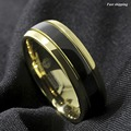 8mm Black Dome 18K Gold Tungsten Ring Wedding Band Bridal ATOP Mens Jewelry Free Shipping