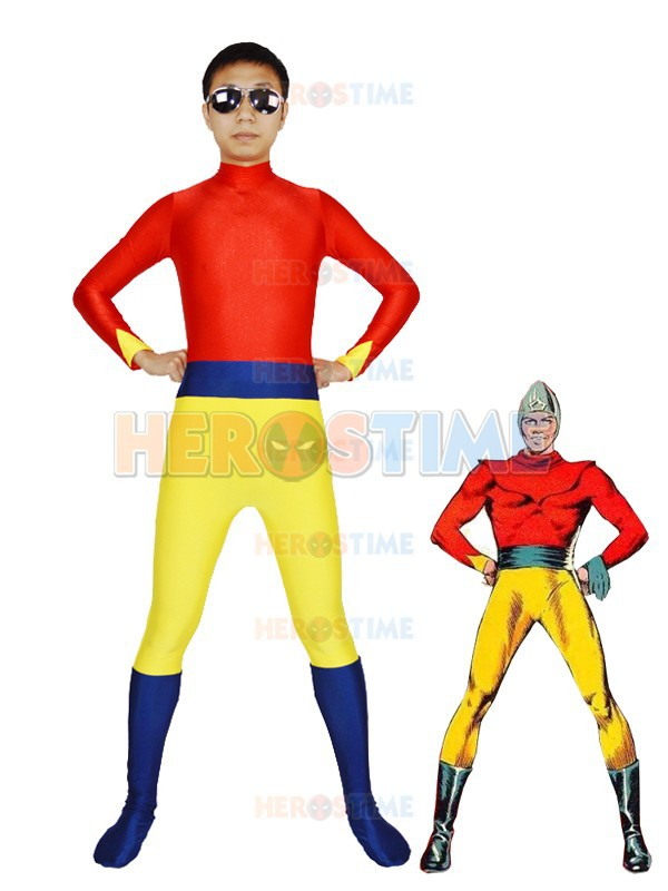 Red & Silver Fawcett Comics Superhero Bulletman Costume Spandex Fullbody Zentai Suit Superhero Cosplay Costume
