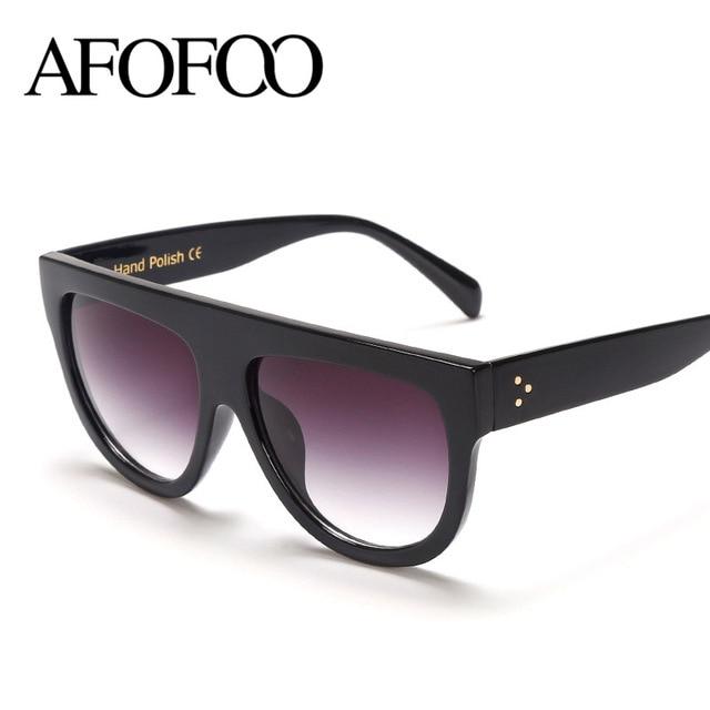 AFOFOO Fashion Sunglasses Brand Designer Vintage Women Flat Top Sun glasses Female Rivet Shades Oversize Eyewear Oculos De Sol