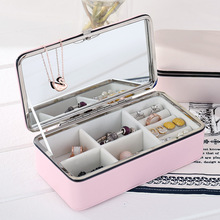 New creative jewelry storage box pu leather double small portable