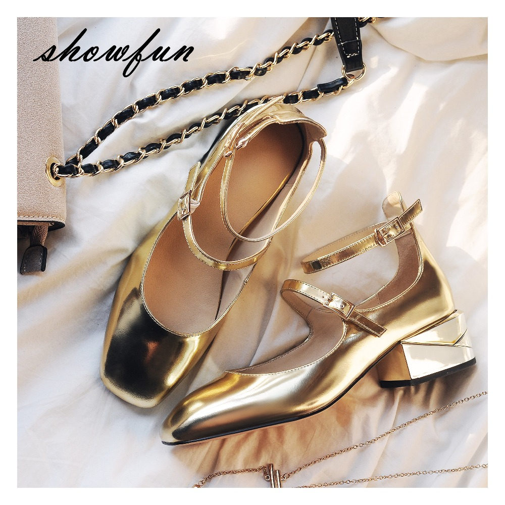 Women's Patent Leather Low Heel Ankle Strap Mary Jane Flats Brand Designer Square Toe Gold Color Shoes for Women Female Footwear nude designer famous brand shoes high quality patent leather mary jane pointed toe flats low heel ballet ladies black ballerina