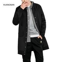 Men Spring Autumn Long Coat Fashion Casual Male Teens Baseball Hip Hop Outerwear Jacket