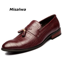Misalwa Mens Designer Leather Shoes Italian Tassel Loafers Moccasins For Men Oxfords Casual Shoes Wine red Party Smoking Slipper