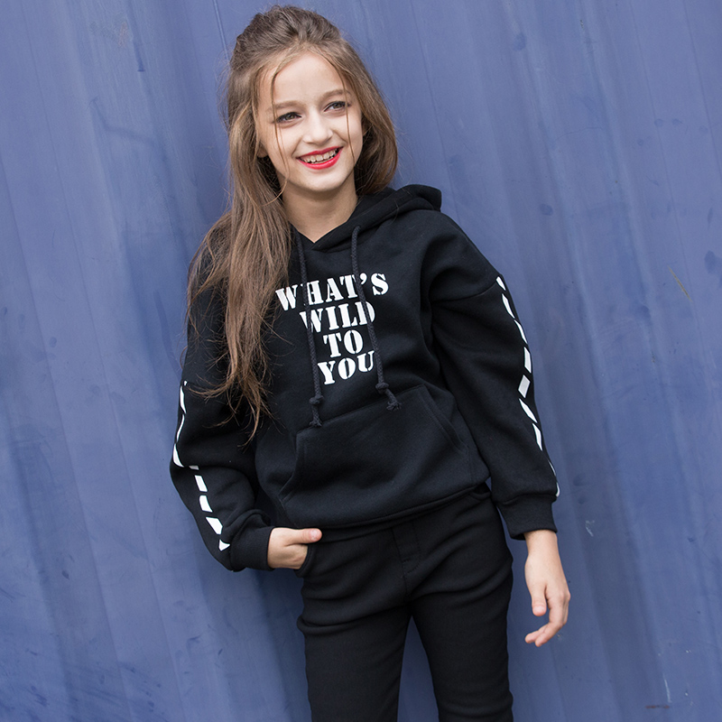 Girls Sweater Clothes Children's Winter Sweatshirts Kids Cotton Hoodies Thick Tops For 6 7 8 9 10 11 12 13 14 15 16 Years Old